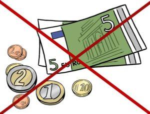 Grafik: Geldscheine und Münzen durchgestrichen