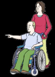 Grafik: Frau schiebt Mann mit Rollstuhl