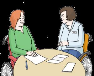 Grafik: Zwei Frauen mit Rollstuhl sitzen an einem Tisch und unterhalten sich