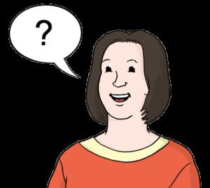 Grafik: Frau und Sprechblase, in der ein Fragezeichen ist