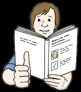 Grafik: Mann mit Buch in der Hand zeigt Daumen nach oben