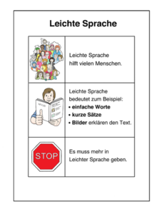 Grafik: Beispiel Leichte Sprache. Blatt Paper, links sind 3 Zeichnungen, jeweils daneben Text