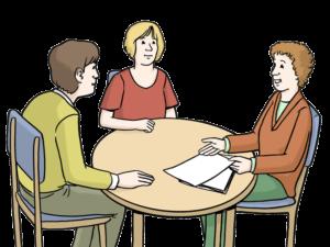Grafik: Drei Personen sitzen an einem Tisch