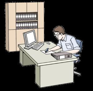 Grafik: Mann im Büro hinter Schreibtisch