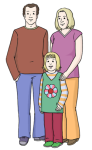 Grafik: Mann und Frau, davor steht ein Kind