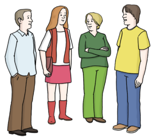 Grafik: Vier Personen stehen und unterhalten sich