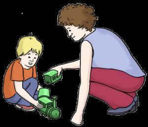 Grafik: Kind und Frau spielen mit Eisenbahn